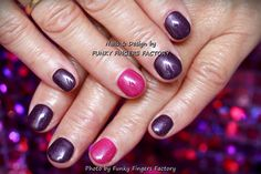 Gelish Purple and Pink nails by FUNKY FINGERS FACTORY
