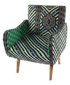 Look what I found on #zulily! Aqua Stripe Kantha Lounge Armchair #zulilyfinds