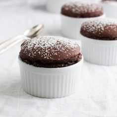 Chocolate soufflé - rich, chocolaty and low-fat. With fewer than 130 calories per serving, you can have two desserts!