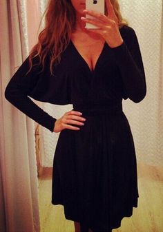 Black Dolman Sleeve Dress - Long Sleeves Black Dress