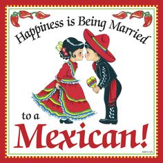 Mexican Gift Idea Tile: Happiness Married to Mexican - DutchNovelties  - 1
