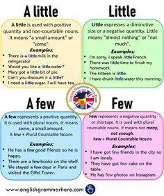 Using A little - Little - A few - Few and Example Sentences - English Grammar Here English Grammar Tenses, Teaching English Grammar, English Verbs, English Sentences, English Language Learning, English Phrases, Learn English Words, English English, Teaching Spanish