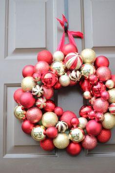 DIY Ornament Wreath #christmas #holidays