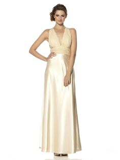 Deep V Neck Beading Satin Champag Evening Dress
