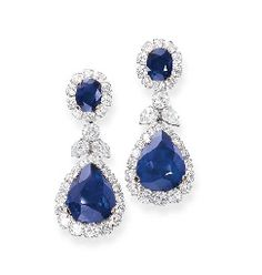 A PAIR OF SAPPHIRE AND DIAMOND EAR PENDANTS, BY BULGARI