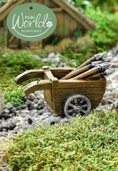 Viking Medieval Cart Wheelbarrow with Spears Miniature Fairy Garden