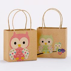 owl mini gift bags - for baby shower favors?