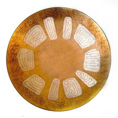 Mid-century hand painted enamel on copper dish