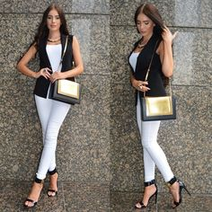 WEBSTA @ laurabadura - Latest look on the blog! #look #ootd #blackandwhite #vest #outfit #me #fashionstyle #trend #smart #dubai #dubaistreetstyle #casual #goldbag #kimoradubai #like #followme #picoftheday #onmyblog