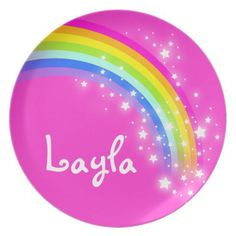 Name rainbow Layla pink girls kids plate perfect if you have kids over at Christmas as they can take the plate home as a gift. Art and designed by www.sarahtrett.com
