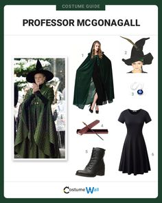 The best costume guide for dressing up like Minerva McGonagall, the professor at Hogwarts School of Witchcraft and Wizardry in Harry Potter. Fantasia Harry Potter, Harry Potter Kostüm, Harry Potter Professors, Harry Potter Outfits, James Potter, Harry Potter Dress Up, Harry Potter Family Costume, Harry Potter Halloween Costumes, Harry Potter Cosplay