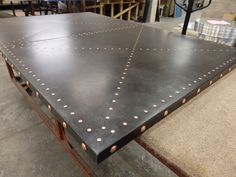 https://flic.kr/p/X23v7J | Zinc Table Top, Dark Patina, Copper studs