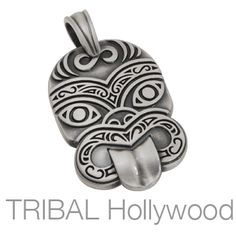 BICO TIKI Tribal Mask Pendant in Silver from Tribal Hollywood