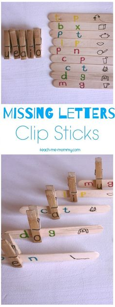 Missing Letters Clip Sticks to promote early literacy Kindergarten Reading, Kindergarten Classroom, Kindergarten Activities, Teaching Reading, Teaching Tools, Teaching Kids, Kids Learning, Learning Spanish, Teaching Resources
