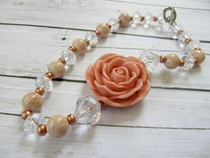 Bubblegum necklace beaded chunky necklace rose by PaigeandPenelope
