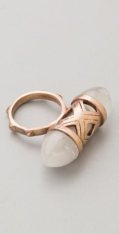 "Pamela Love ""Cutout Ring"" bronze ring & polished quartz crystal"