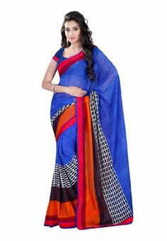 Indian Designer Wear Chiffon Chex Blue Printed With Lace Border Saree Fabdeal, http://www.amazon.de/dp/B00J0V0XYS/ref=cm_sw_r_pi_dp_bG6otb0Y0XHZ1