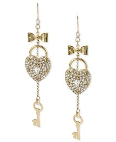Betsey Johnson Earrings, Gold-Tone Glass Heart Lock and Key Linear Earrings - Fashion Jewelry - Jewelry & Watches - Macy's