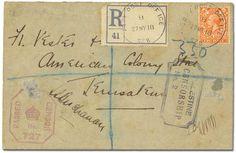 Palestine, E.E.F. in Palestine, APO cancels, 1917-9, 18 covers: single circles, SZ 8 (3, incl. 2d. GB reg. env.); SZ 14; SZ 18 (2, incl. reg. with 2d. GB stamp); SZ 33 (2); SZ 37; SZ 44 (3, one backstamp) & SZ 48 + 3 on piece: SZ 23 & SZ 32 (2), various censor markings, Entwistle L320, Fine to Very Fine. Estimate $200 - 300.
