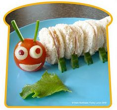 Kid's Lunches-What a cute Catapiller sandwich. Need more ideas for sandwiches? See more photos