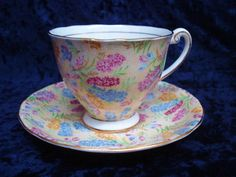 Spectacular 1930s Original Chintz Pedestal Cup and Saucer by Windsor China Gold Accents