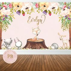 Welcome to Peony & Blush Designs! A custom stationary shop for all of your event needs.   *** Please read item description before purchasing ***  This listing is for a Woodland Birthday or Baby Shower Backdrop. ::: PRODUCT DETAILS :::  Using the drop down menu, you have the option