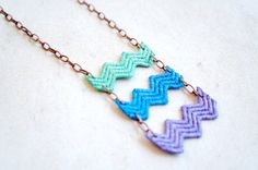 Chevron Lace Statement Necklace in Mint Green Blue Purple