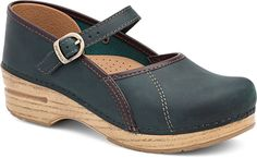 Womens Marcelle Clogs  in Teal -  Blonde Oiled Leather