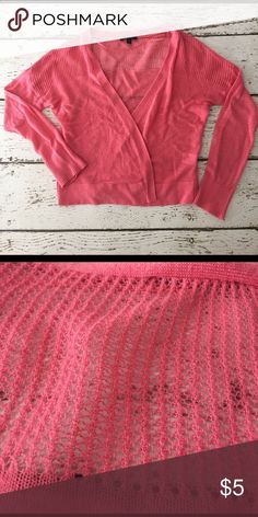 Coral Cropped Cardigan/Shrug Coral/salmon cropped open cardigan. Worn once. Pretty crochet detail across shoulder. Apt. 9 Sweaters Cardigans