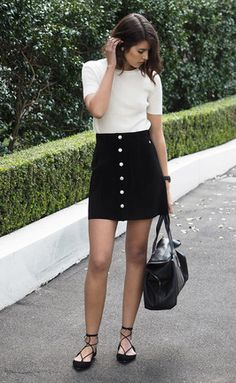 Black Single Breasted A-Line Suede Skirt -SheIn(Sheinside)