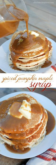 Spiced Pumpkin Maple Syrup - Ella Claire This Spiced Pumpkin Maple Syrup is breakfast heaven! It is so easy to make too. Spiced Pumpkin, Pumpkin Recipes, Fall Recipes, Pumpkin Spice, Holiday Recipes, Pumpkin Pumpkin, Pumpkin Pudding, Pumpkin Butter, Pumpkin Puree