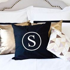 Personalised Signature cushions by Cotton & Thread with a touch of a Gold Lux.