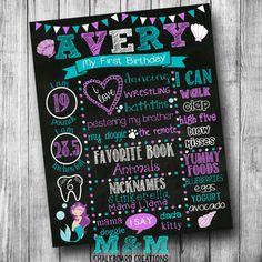 First Birthday Mermaid Chalkboard Poster - Girl - Customized 1st Birthday Chalk board - Custom Printable Sign - Purple Teal White - Seashell