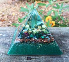 Orgonite Pyramid Heart Chakra Malachite Green by 432oneness