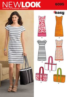 new look easy sewing pattern. misses' sleeveless or cap-sleeved shift dress with trim variations and tote bag.