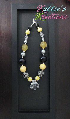 Child, Toddler, Girls Chunky Beaded Necklace - Girlie Diamond Pendant. $18.00, via Etsy.