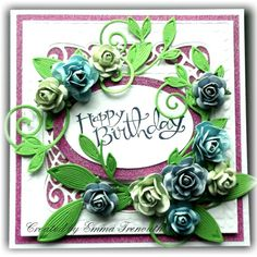 Floral birthday card, Sue Wilson New York die, SU sassy salutations