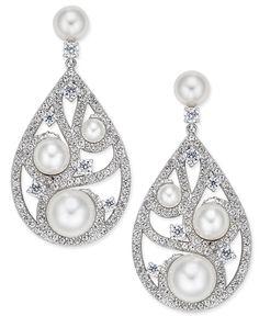 Danori Silver-Tone Imitation Pearl Cubic Zirconia Maeva Drop Earrings, Only at Macy's