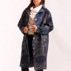 Blue coat KVILT.   Single instance. Authors handmade. READY TO SHIP. Made in the technique of wet felting, nunofelting, pechvork, shibori . Completely handmade, without seams. The coat is made from 100% sheeps wool. Luxury to the skin,you will not want to take off this beautiful
