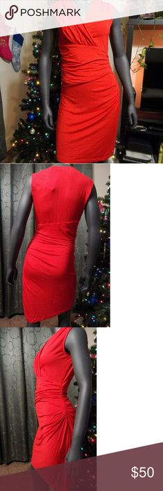 Draped Jersey Dress 👗 Beautiful Sexy Red Kenneth Cole dress! Form fitting very little stretch. Thinner material recommended light colored undergarments or slip. Kenneth Cole Dresses Midi