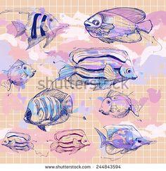 #fish #sea #seaworld #art #illustration #animal #water #fauna #ikan #amazing #watercolor #doodle #doodlevector #shutterstock