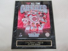 "Cincinnati Reds All Time Greats Collector Plaque w/8x10 Photo by J & C Baseball Clubhouse. $19.99. This collectors plaque measures 10 1/2""x13"" and includes a fully licensed 8""x10"" photo that IS REMOVEABLE. A GREAT ITEM for any sports fan!"