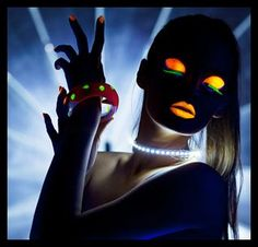 Glow Make-up-site links to teen party ideas. imagine posting pics like this on facebook. Freak your friends out. :)