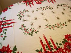Large Vintage Christmas Table cloth. Candles by DragonflyGypsySoul, $26.00