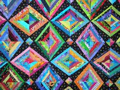 Quilts By Holly: Bright scrappy string quilt