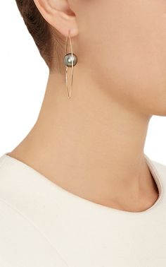 Hirotaka Tahitian Pearl & Gold Floating Oval Earrings -  - Barneys.com