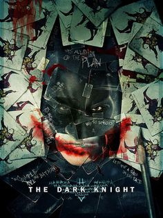 The Dark Knight Movie poster is made up of series of collaged joker playing cards and famous quotes from the movies. The poster captures the identity of the movie beautify by concentrating on the dark messages within the movie though its use of imagery and layout.