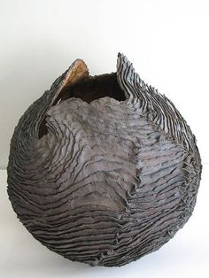✨ Isabelle LeClercq Marcq-en-Baroeul, France - Cocon, 2011 ::: Glaze: Liner glaze fired to 1260 degrees Celsius, Clay Body: Stoneware with oxides and engobes Dimensions: Width inches Ceramic Clay, Ceramic Pottery, Pottery Art, Earthenware, Stoneware, Organic Ceramics, Sculptures Céramiques, Pottery Sculpture, Paperclay