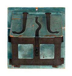 "CONESTOGA WAGON BOX, ca. 1800, with wrought iron strapping, 18 1/2"" h., 17 1/2"" w."