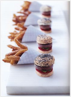 "chocolate ice cream ""burgers"" with sweet churro ""fries"" by Peter Callahan. (bite size, these are adorable!)"